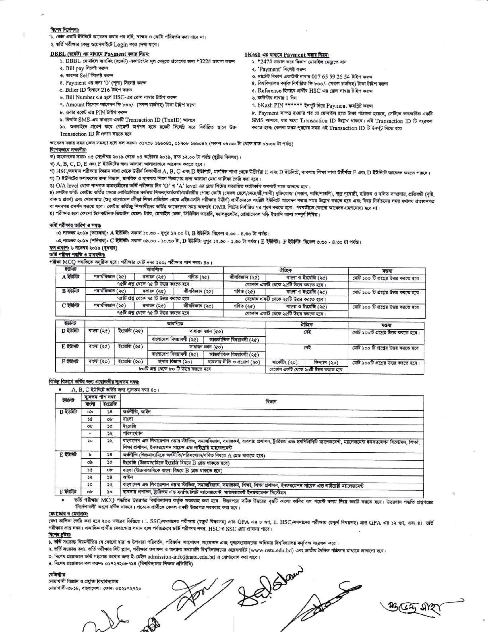 Noakhali University Admission circular