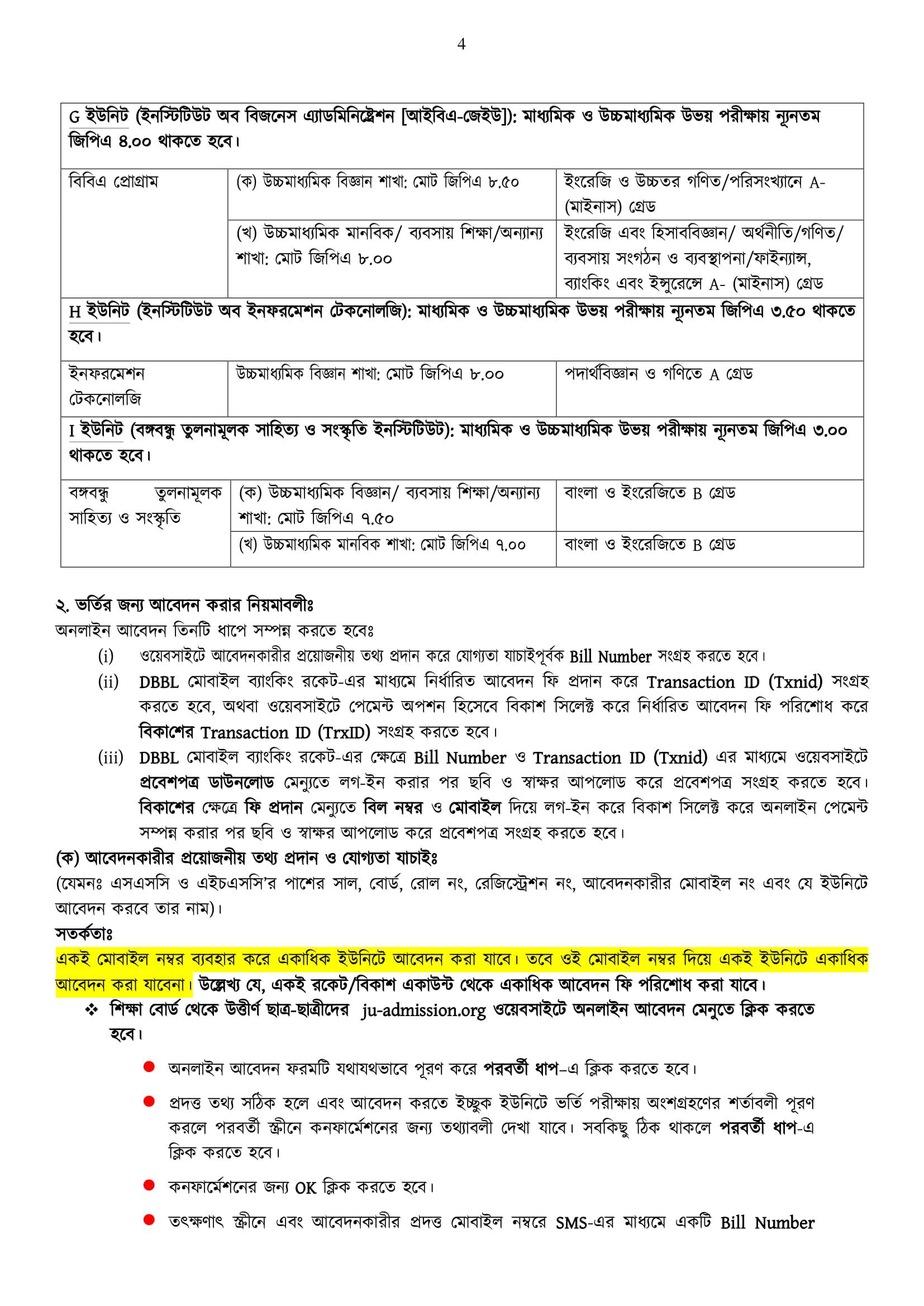 Jahangirnagar University Admission Circular 2020-21 4