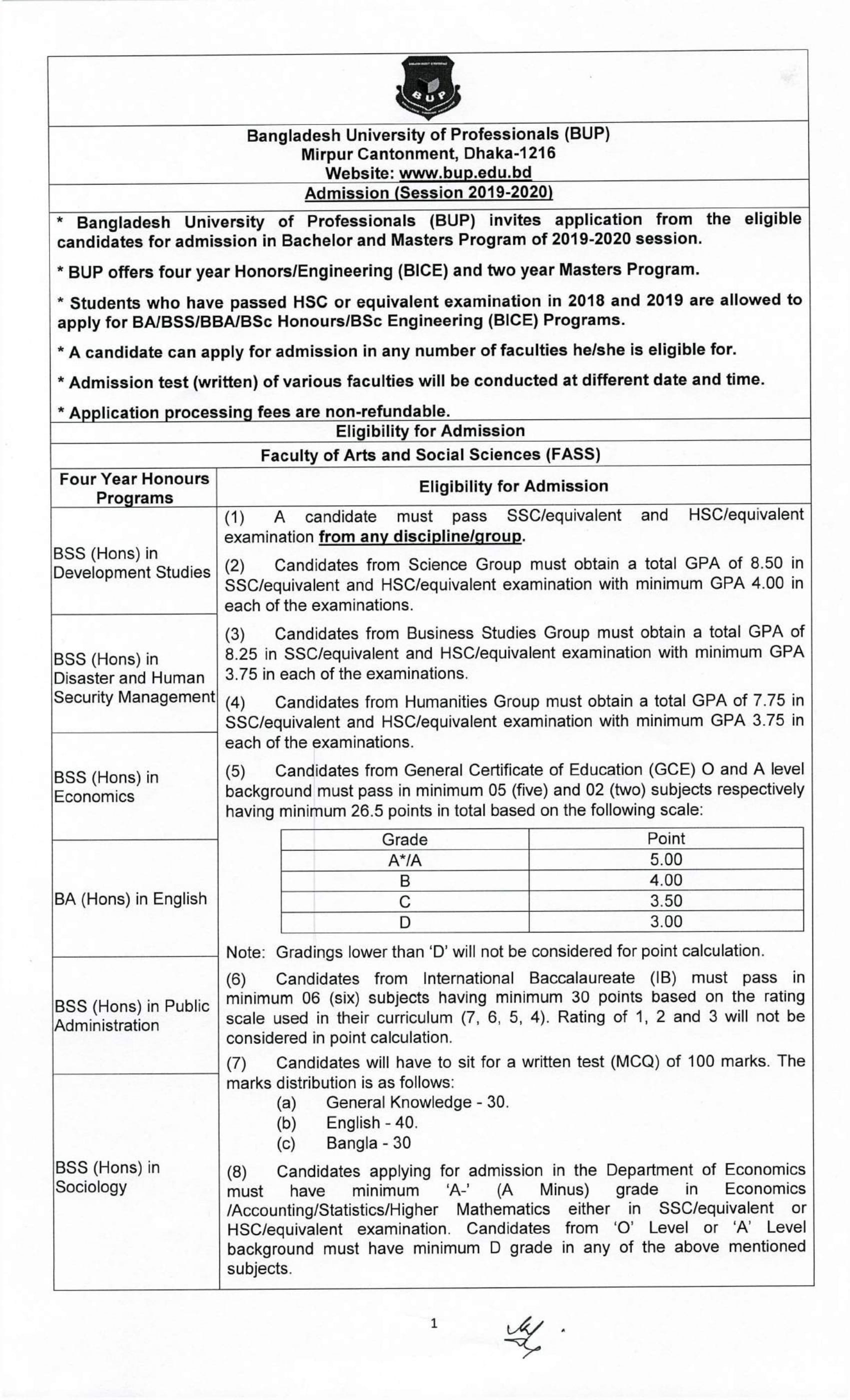 bup admission circular 1