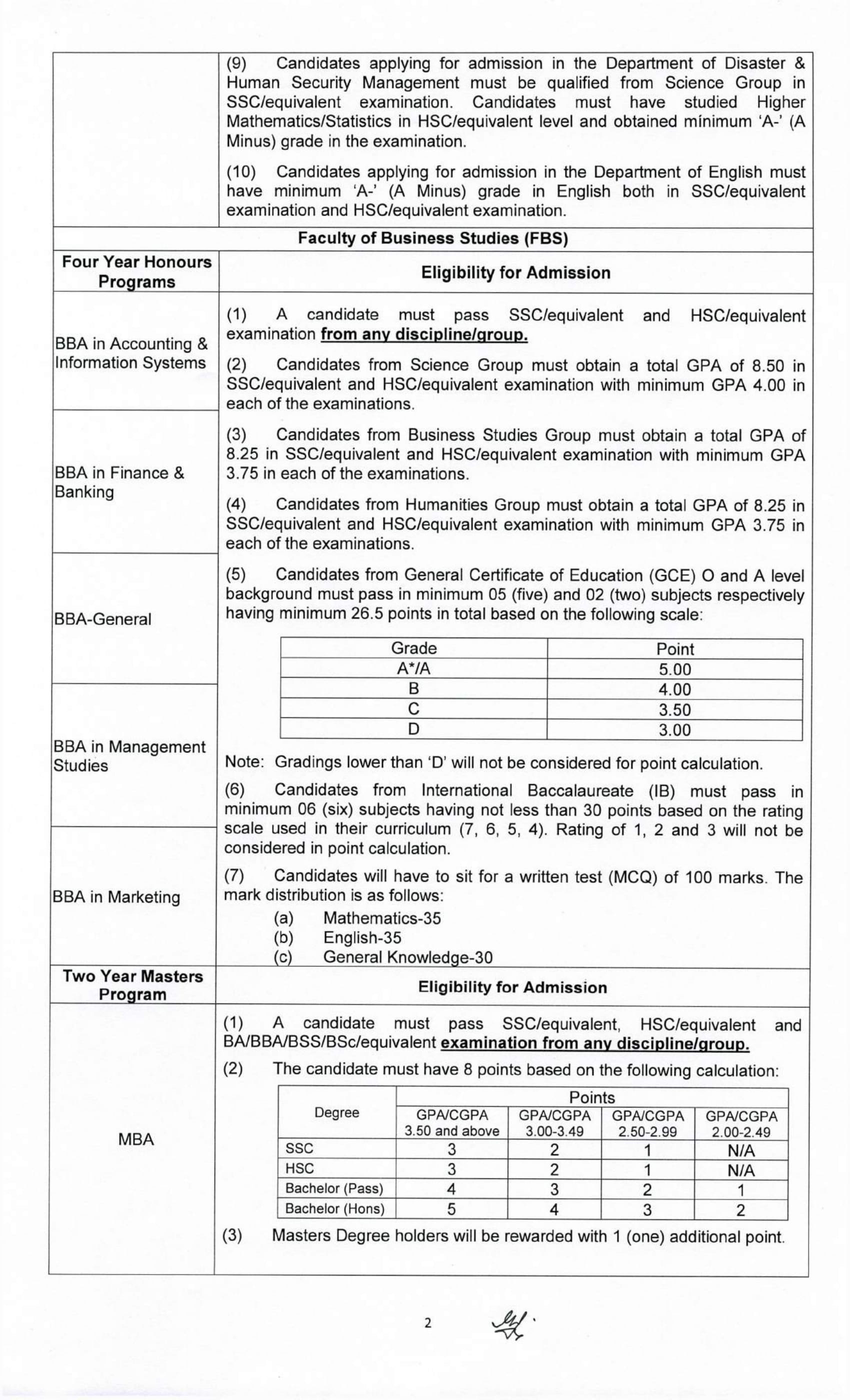 bup admission circular 2